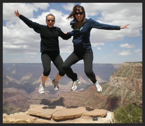 Just letting go!! Jessica (right) and friend at the Grand Canyon.